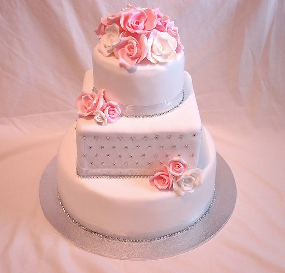 I was excited to do this cake. My 2nd wedding cake ever!   repin it