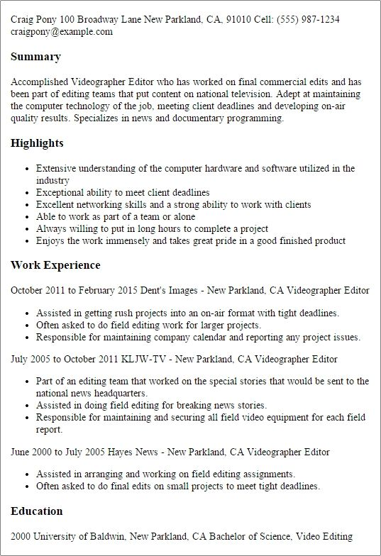 Videographer Editor Resume Template Best Design Tips Job Resume Job Resume Examples Resume Template Professional