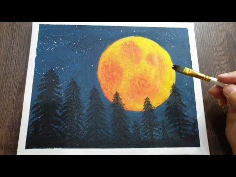 تعلم رسم القمر مع الاشجار ليلا رسم اكريليك رسم سهل Youtube Painting Acrylic Painting Art