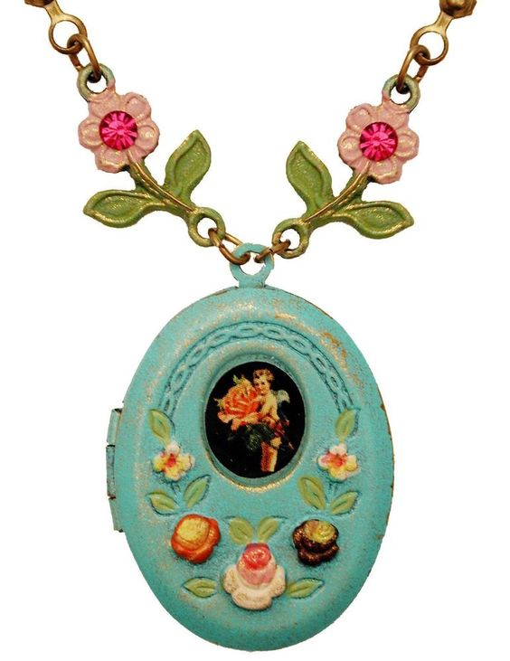 Michal Negrin Vintage Style Cherub Flowers Locket Necklace #MichalNegrin #Locket