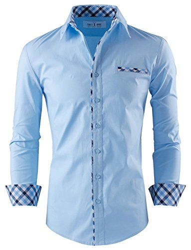 Layered dresses flats and toms on pinterest for Mens dress shirts with different colored cuffs and collars