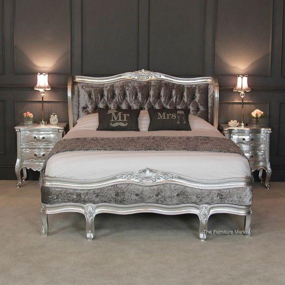 Bed goals! French Silver Leaf 5ft King Size Velvet Upholstered Painted Bed... £949
