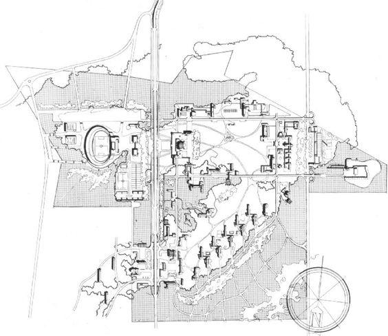 Propuesta ganadora para la Ciudad Universitaria en el Concurso Interno de la ENA, 1946.  De los Alumnos Teodoro González de León, Armando Franco y Enrique Molinar.