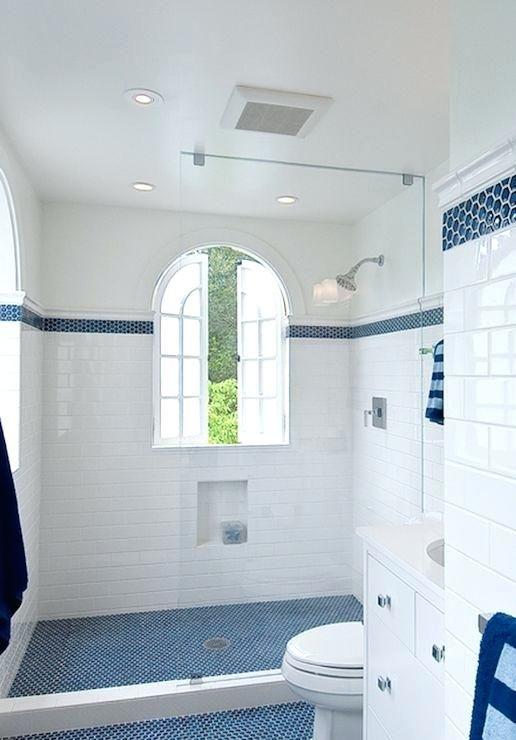 Blue Penny Tile Bathroom Floor Design Subway Tile With Blue Mosaic Hex Inset Tiles House Designs Ide Penny Tiles Bathroom White Bathroom Tiles Cottage Bathroom