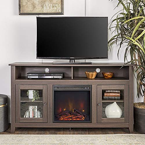 New New 58 Inch Wide Highboy Fireplace Television Stand Espresso