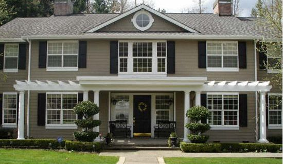 Taupe Exterior Paint With Black Shutters!