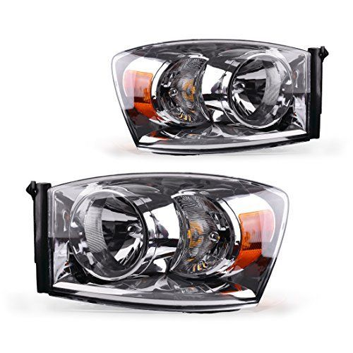 Headlight Assembly For 2006 2008 Dodge Ram 1500 2500 3500 Pickup Replacement Headlamp Driving Light Chromed Housing Amber Reflector Clear Lens 2 Year Warranty Pair Headlight Assembly Dodge Ram 1500 Car Accessories