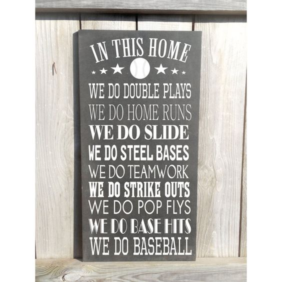 In This Home We Do Baseball Vintage Style Custom Family Rules Baseball... (€36) ❤ liked on Polyvore featuring home, home decor, wall art, grey, home & living, home décor, wall décor, typography wall art, quote wall art and grey home decor