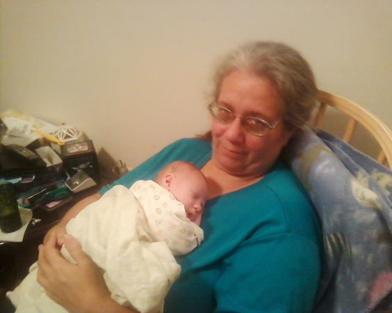 Grandma and Ben his 2nd day home.