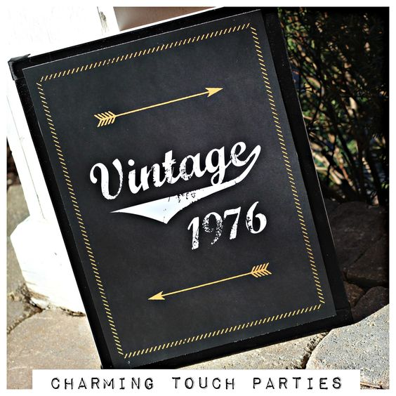 40th Birthday Party Sign. Vintage 1976, 11x17, physical product. Professionally printed. Customizable. by CharmingTouchParties on Etsy
