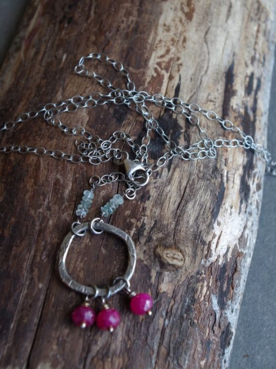 """Boho Fine Silver necklace natural Ruby gemstones and Aquamarine 24"""" length - Organic square, fine silver and sterling silver, gemstones"""