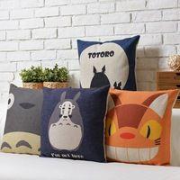 atacado anime japonês Sofá Capa de Almofada de linho Pillow Material da Caixa série de desenho animado Totoro Casa Decoração fronha