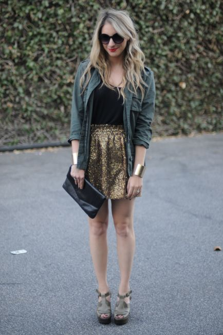sparkles.: Gold Skirt, Army Green, Sequins Army, Green Sequin Skirt, Gold Sequins, Sequined Skirt, Army Jackets, Green Sequins