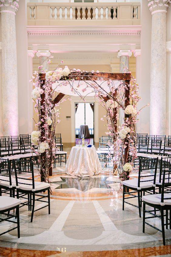 Cherry Blossom Chuppah -- Love it for a spring DC wedding! | Photo: K. Thompson Photography
