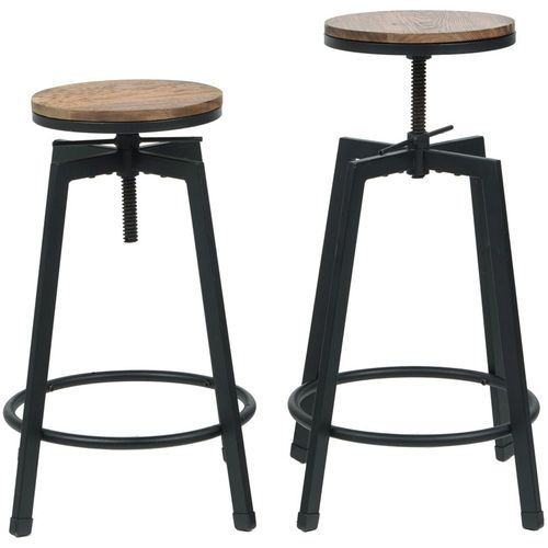 Vintage Industrial Stackable Swivel Backless Barstool With Wood