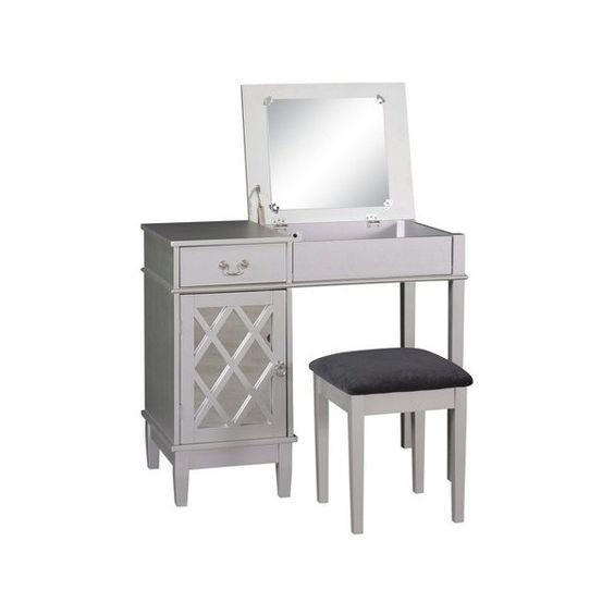Vanity Set: Silver Lattice Vanity Set - Linon, Medium Silver ($158) ❤ liked on Polyvore featuring home, furniture, tables, jewelry furniture, black storage furniture, storage furniture, black table and jewelry table