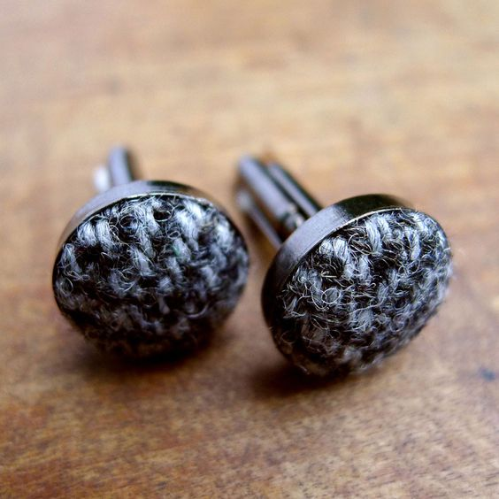 Grey Herringbone Harris Tweed Cufflinks by Shuttle & Reed, £16.00