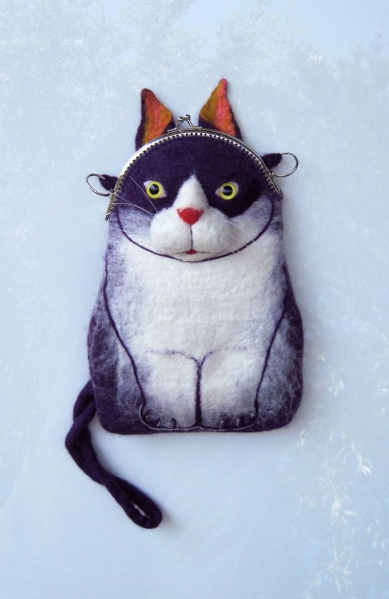 CAT Wet Felted Purse.: