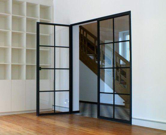 Schlanke Stahl Glas Tür Modell Oelertring Stahlblau - Björn Boes - design turen glas holz moderne