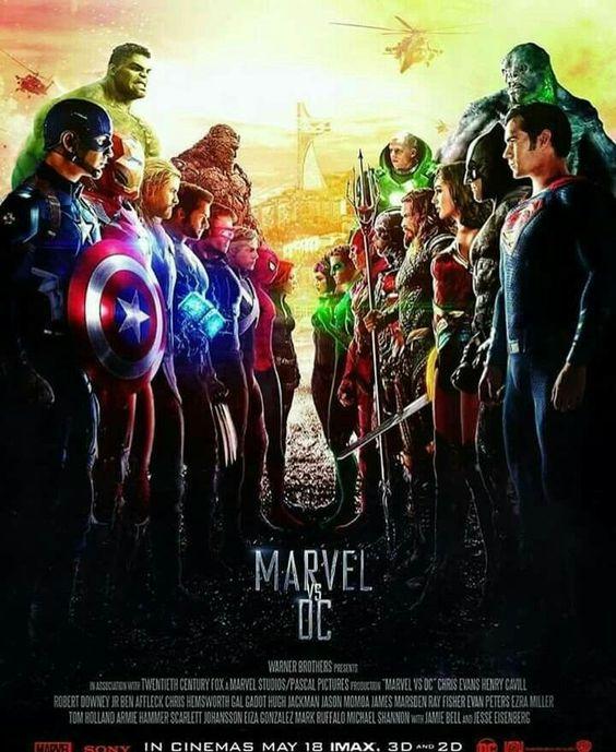マーベルヒーローとDCキャラが戦っている画像