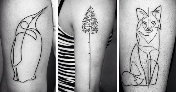 Con una sola línea continua practicamente, este filosófico tatuador crea sus obras, prefiriendo crear algo sencillo pero elocuente.