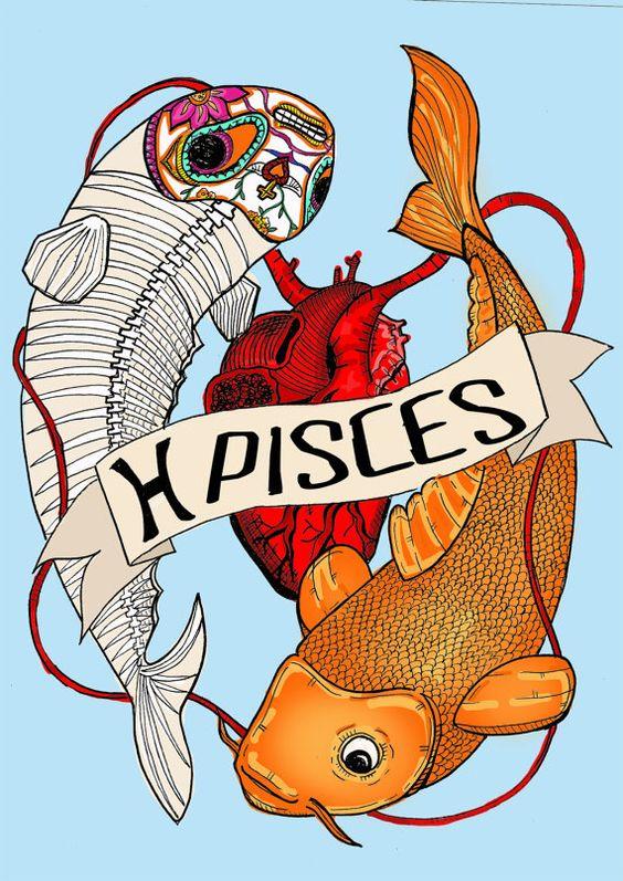 PISCES, Limited edition zodiac sign, Original Illustration, Fine Art Print…
