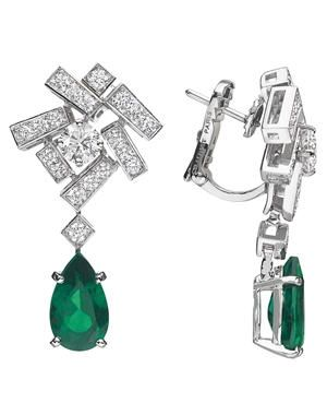 Chaumet - Le Grand Frisson Collection - Emerald & Diamond Earrings