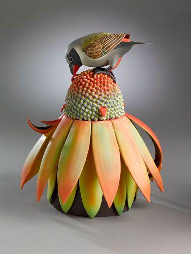 Truly fabulous: Yellow-bellied Waxbill porcelain teapot - Annette Corcoran