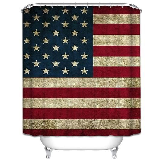 Retro American Flag Shower Curtain Rustic Looking And Very