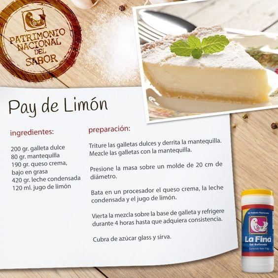 Pay de limon regalos pinterest for Rectas de cocina faciles