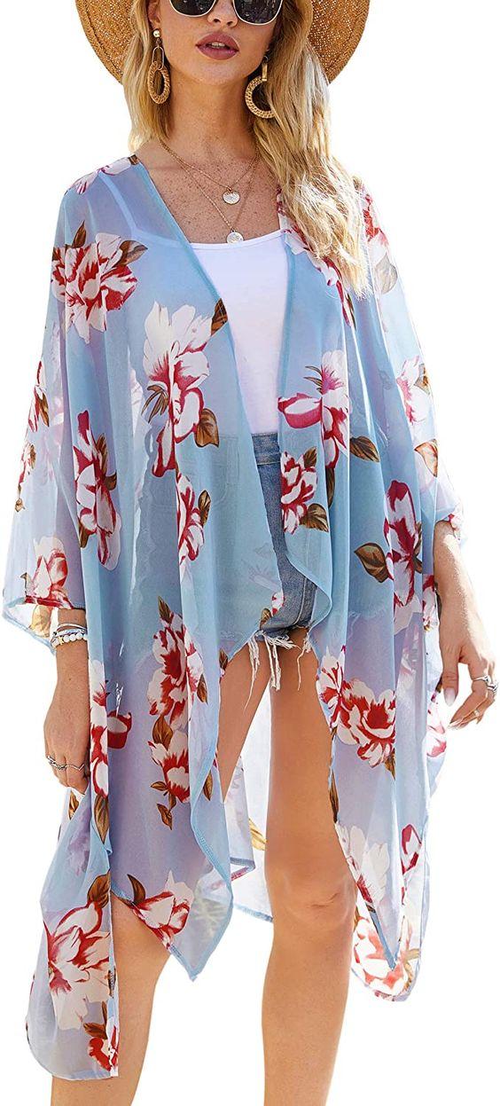 Hibluco Women's Sheer Chiffon Floral Kimono Cardigan Long Blouse Loose Tops Outwear at Amazon Women's Clothing store