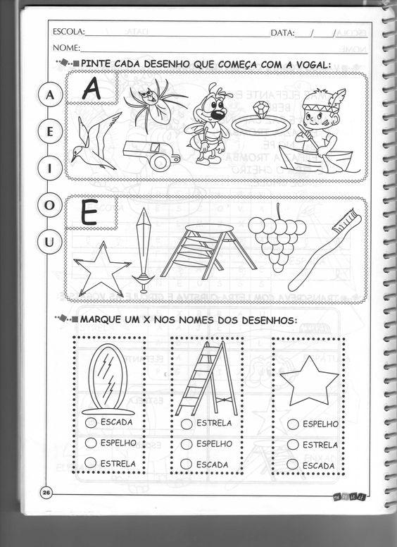 atividades com vogais para colorir | ... de 2011 com 2550 × 3509 em livro Tindo le-le, atividades com vogais