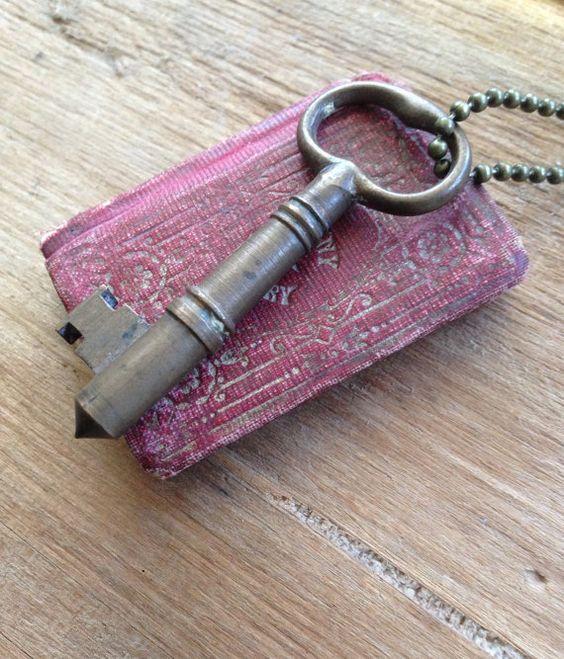 Vintage Solid Brass Bullet Style Skeleton Key Necklace Unisex