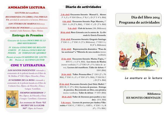 Tríptico de actividades para el día del libro 2014. IES Montes Orientales, Iznalloz