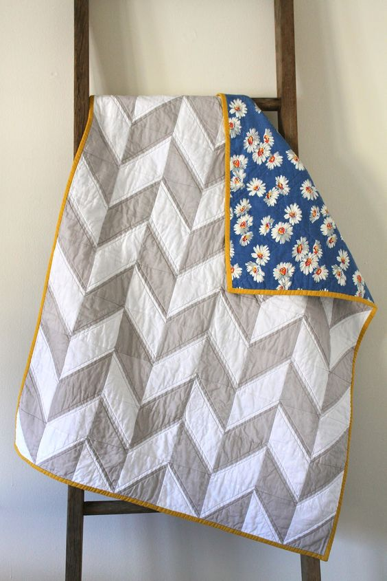 Craftyblossom: grey and white herringbone quilt with vintage fabric