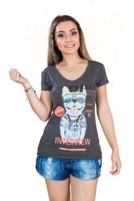 T-Shirt Tok Fashion Cachorro Dj Mescla Escuro