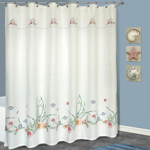 Shower Curtain White Fabric Embroidered Fish Seashells 70x72 New
