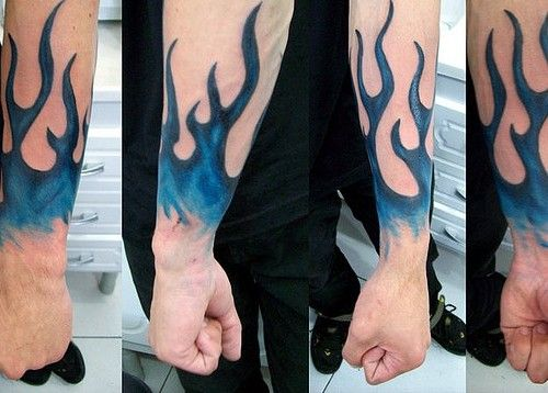 fire and flame tattoo blue