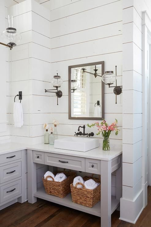 Lovely White And Gray Cottage Style Master Bathroom Features A Gray Vanity Mirror Hung From A White Shipla Beach House Bathroom Lake House Bathroom Gray Vanity
