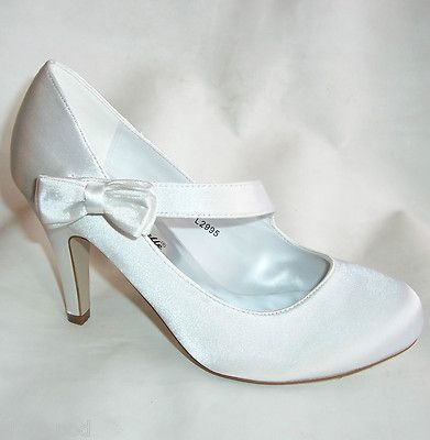 Details about WOMENS WHITE SATIN BRIDAL WEDDING MARY JANE HEELS ...
