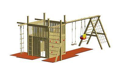Winnetoo Spielturm Giga Holzspielhaus Klettergerüst Schaukel Kletterwand GP802