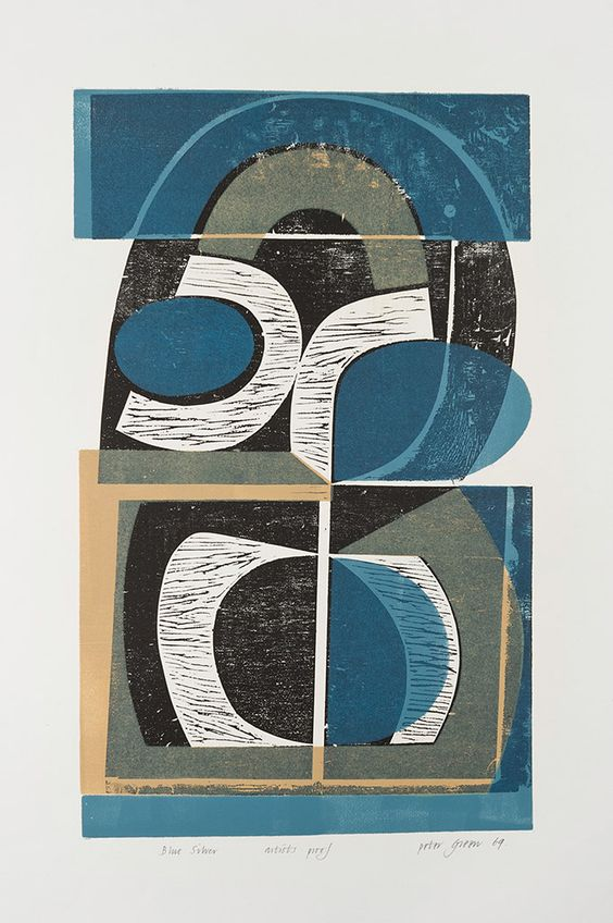'Blue Silver' (1969) by English artist and printmaker Peter Green (b.1933). Woodcut and stencil print. via St Jude's Prints