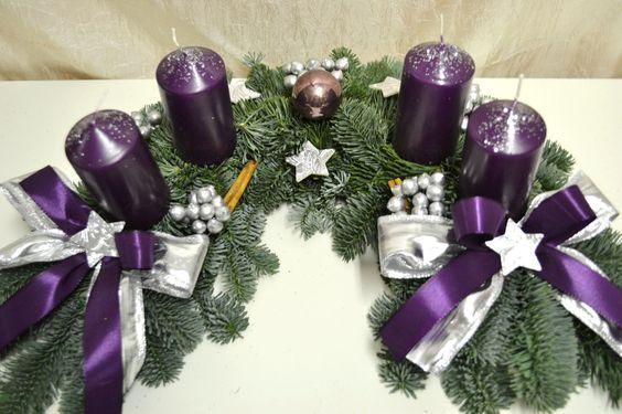 excl adventskranz frisch halbmond lila silber 40 cm weihnachten advent deko more. Black Bedroom Furniture Sets. Home Design Ideas