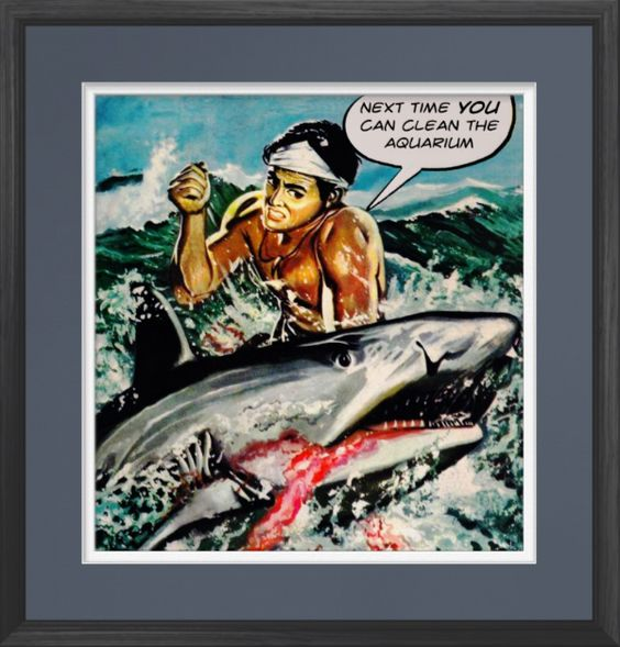 Next Time YOU clean the Aquarium - Poster http://www.zazzle.com/next_time_you_clean_the_aquarium_poster-228359392341397004 #posters #humor #fish #sharks