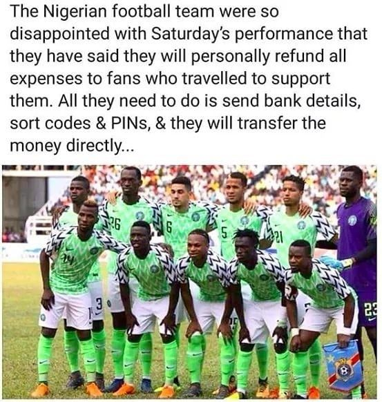 So Much Respect For Nigeria S National Team Super Funny Memes Super Funny Sort Code