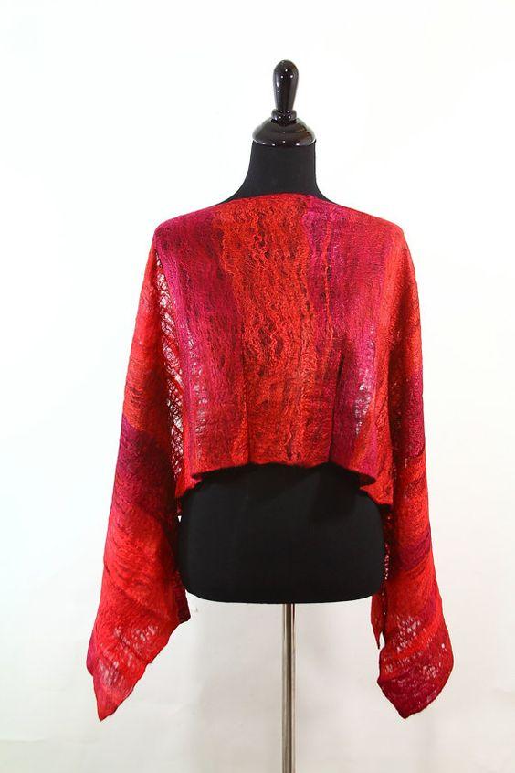 Red cobweb felted scarf burgundy felt red hot red by nafanyafelt, $85.00