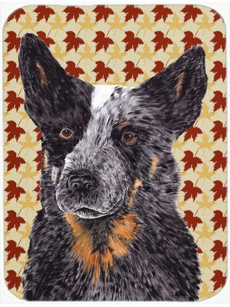 Australian Cattle Dog Fall Leaves Portrait Glass Cutting Board Large