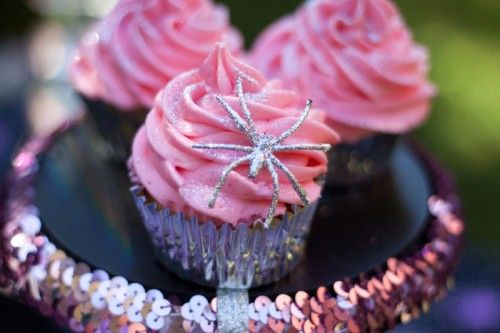 Pink spider cupcakes