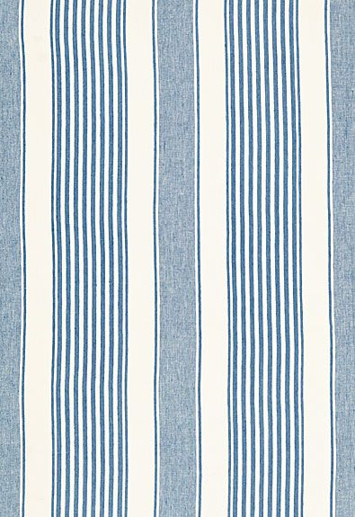 Blue and white linen stripe