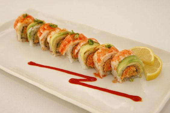 ... spicy crab and cucumber. Top: shrimp and avocado with sour spicy sauce